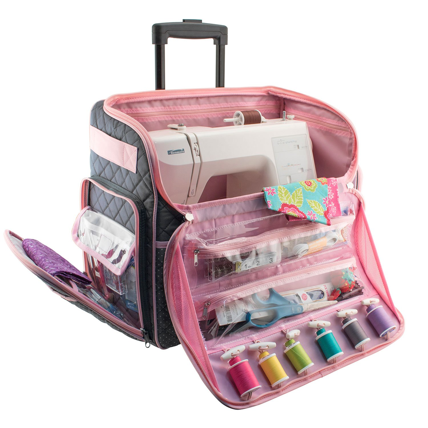 Everything Mary Deluxe Quilted Pink and Grey Rolling Sewing Machine Tote - Sewing Machine Case Fits Most Brother & Singer Sewing Machines, Sewing Bag with Wheels & Handle - Portable Sewing Case by Everything Mary