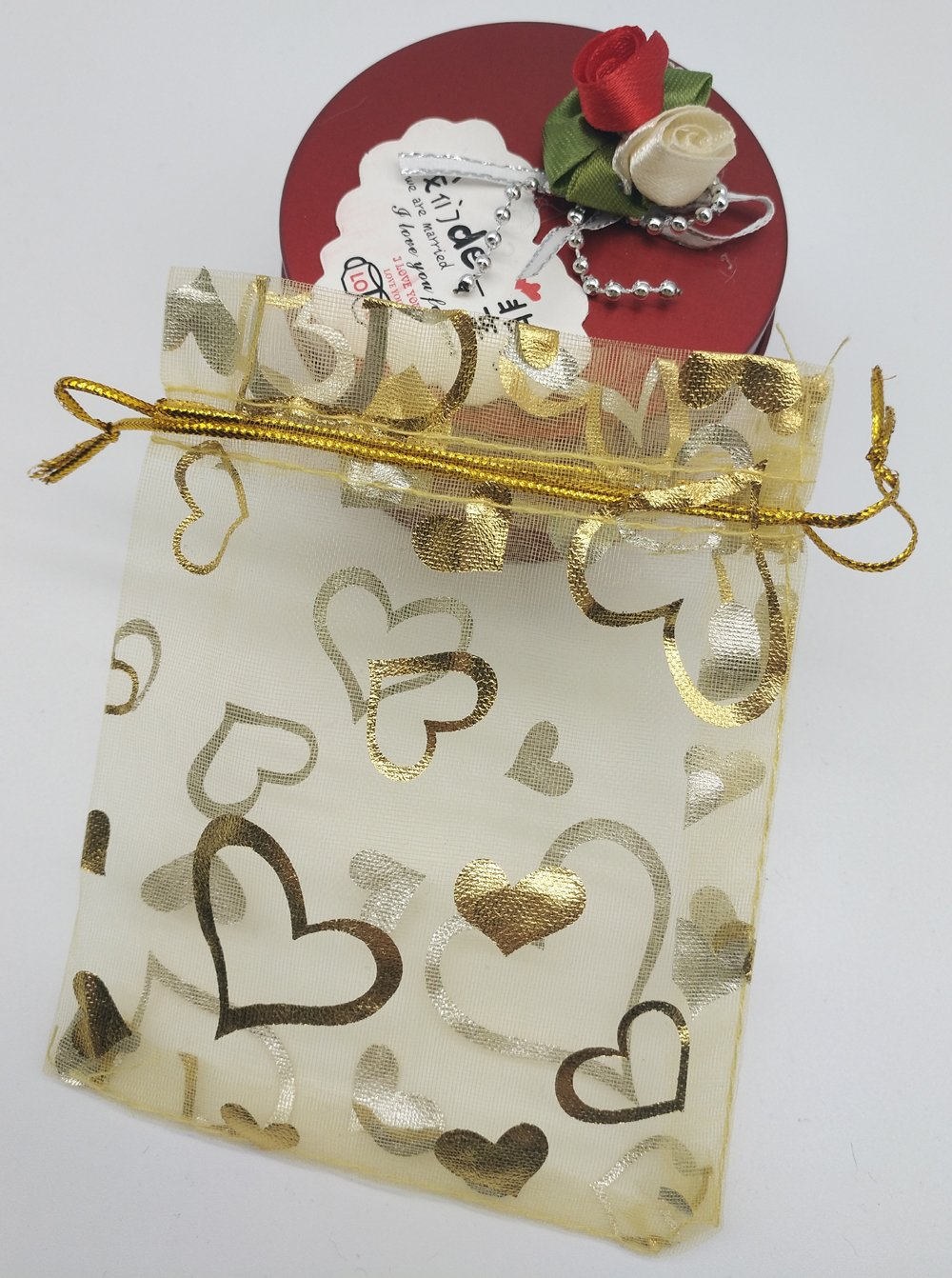 Ankirol 100pcs Mini Sheer Organza Wedding Favor Bags 3.5x4.5 Luxury Jewelry Candy Gift Card Bags with Gold Line Drawstring Pouches Gold Heart