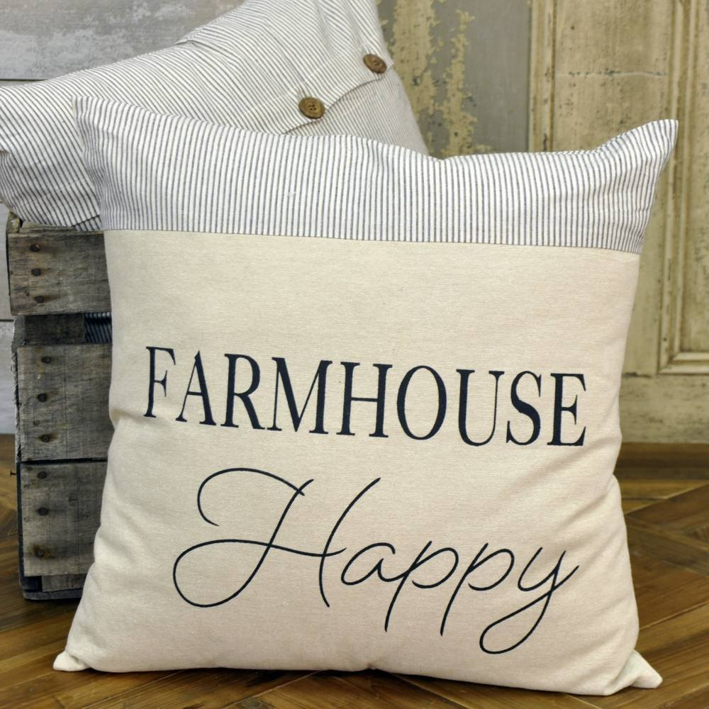 Beutiful Blue ticking stripe farmhouse style Pillow Farmhouse Happy Farmhouse pillows