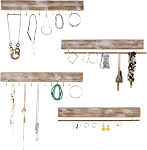 """Large Wall Mounted Jewelry Organizer. 17"""" Inches Wide Rustic Display with Hooks for Hanging Rings, Earrings, Necklace Holder, Bracelet Hanger. Shabby Chic Wood Home Decor (Set of 4 - Brown)"""