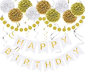 White and Gold Happy Birthday Decorations Neutral Birthday Party Decor - Happy Birthday Banner, Pom Poms Flowers, Paper Dot Garland, Hanging Swirl