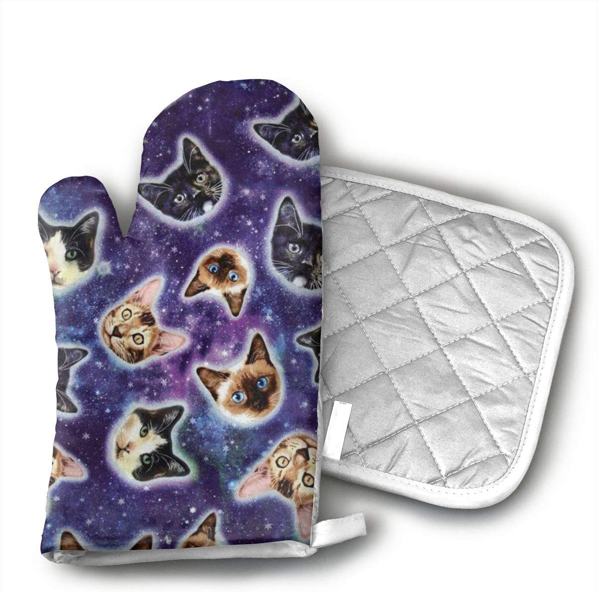 Wiqo9 Galaxy Space Funny Kitten Cat Oven Mitts and Pot Holders Kitchen Mitten Cooking Gloves,Cooking, Baking, BBQ.