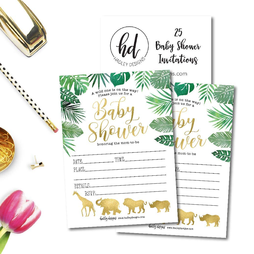 Sprinkle Invite for Boy or Girl Coed Twin Party Stock Paper Supplies Hadley Designs 25 Safari Baby Shower Invitations Gender Neutral Reveal Jungle Animal Theme Cute Printed Fill or Write in Blank Printable Card