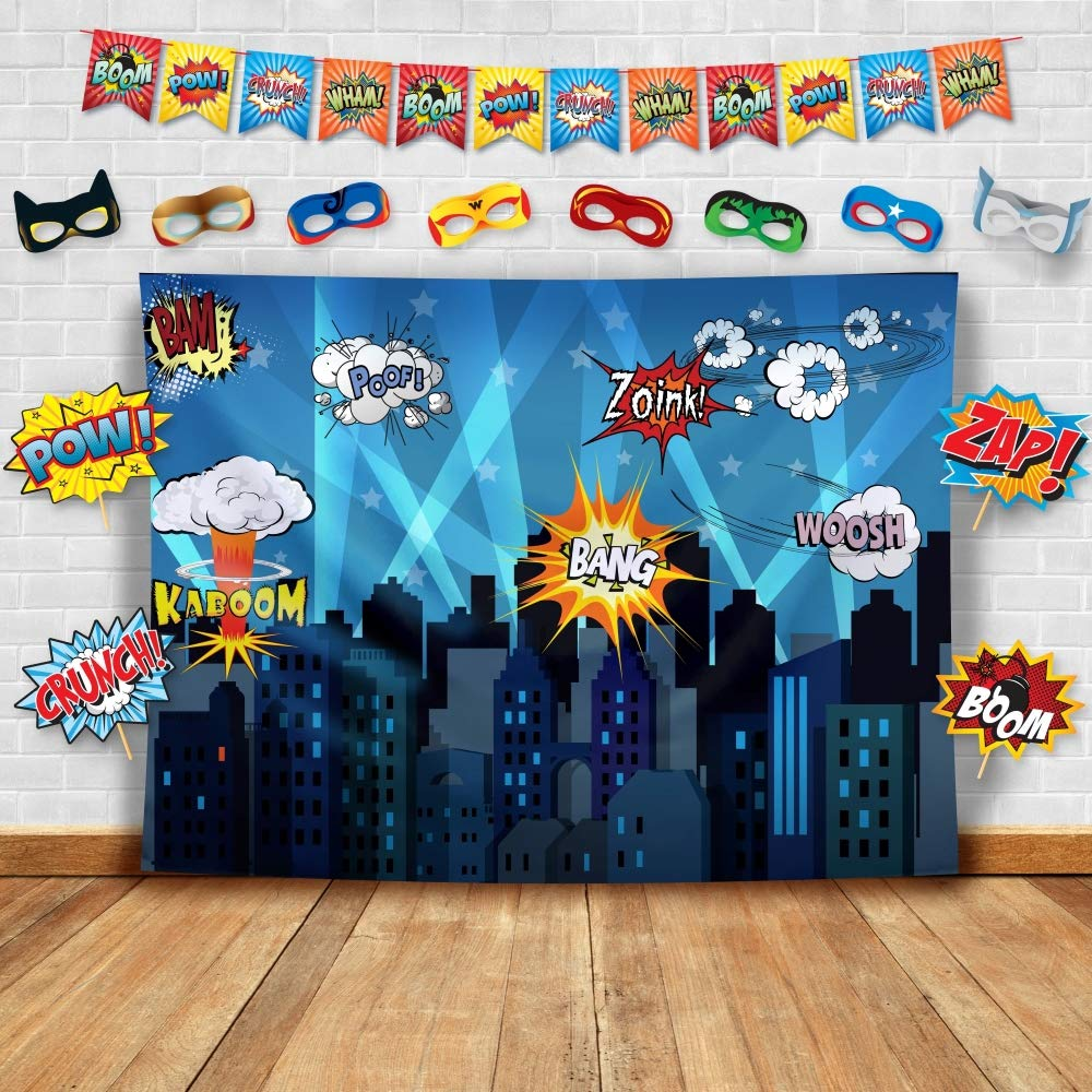 Superhero Cityscape Photography Backdrop, Studio Props, Flags and Mask DIY Kit. Great as Super Hero City Photo Booth Background - Birthday Party and Event Decorations by Glittery Garden
