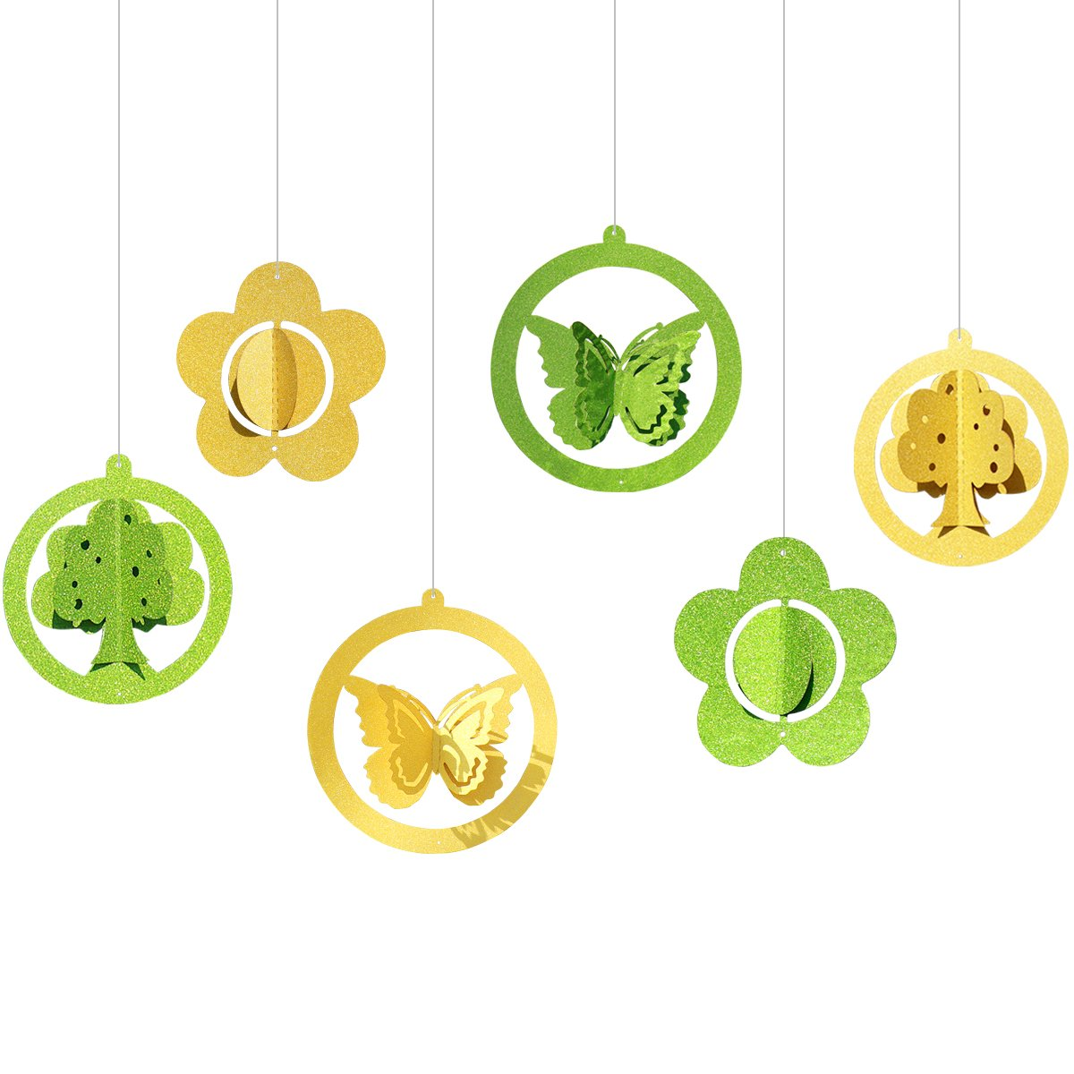 sparkling spring butterfly/three/flower hanging garland for girl's room,nursey,window,theme party decorations.(Yellow-Green)