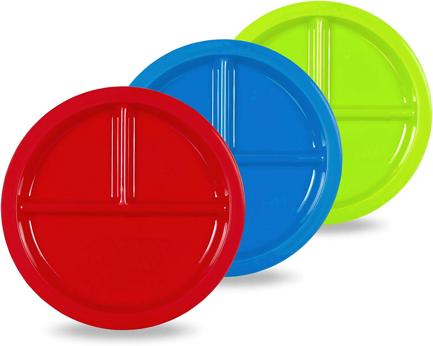 Plaskidy Plastic Divided Plates for Kids - Set of 3 Kids Plates with Dividers in Fun Bright Colors - Toddler Compartment Plates Reusable Dishwasher/Microwave Safe BPA Free for Kids & Toddlers