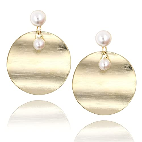 44f3c42cce1ed Amazon.com  14K Gold Large Round Disc Dangle Drop Earrings Brushed Metal  Pearl Stud Fashion Earring for Women Girls  Jewelry