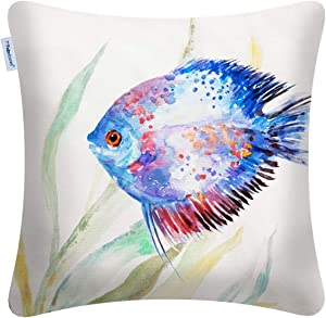 FBTS Prime Throw Pillow Cover 18x18 Inch Blue Marine Organism Pattern Tropical Fish Decorative Square Cushion Cover for Couch Bed Sofa Indoor Furniture