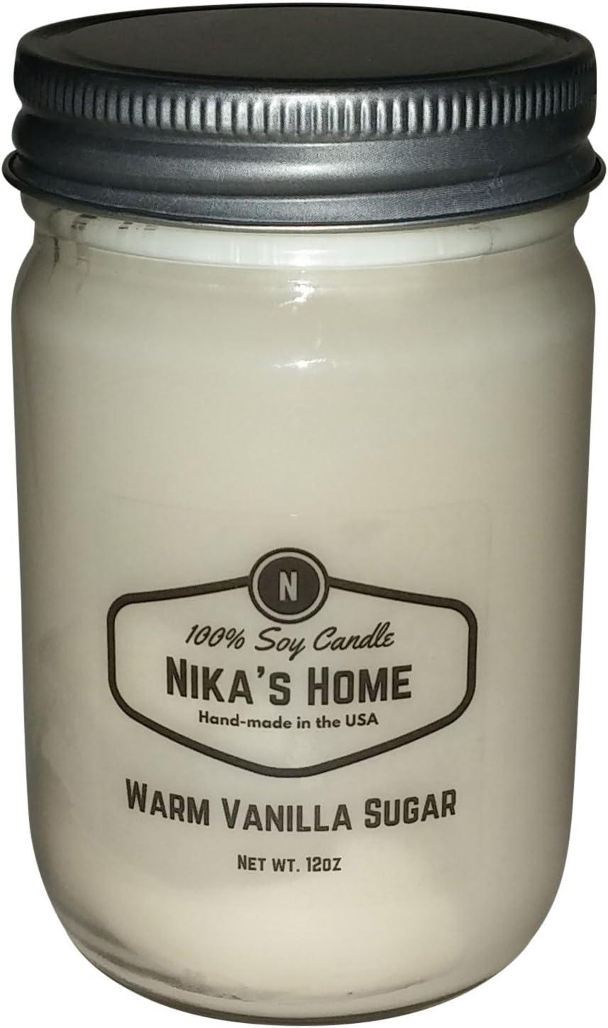 Nika's Home Warm Vanilla Sugar Soy Candle - 12oz Mason