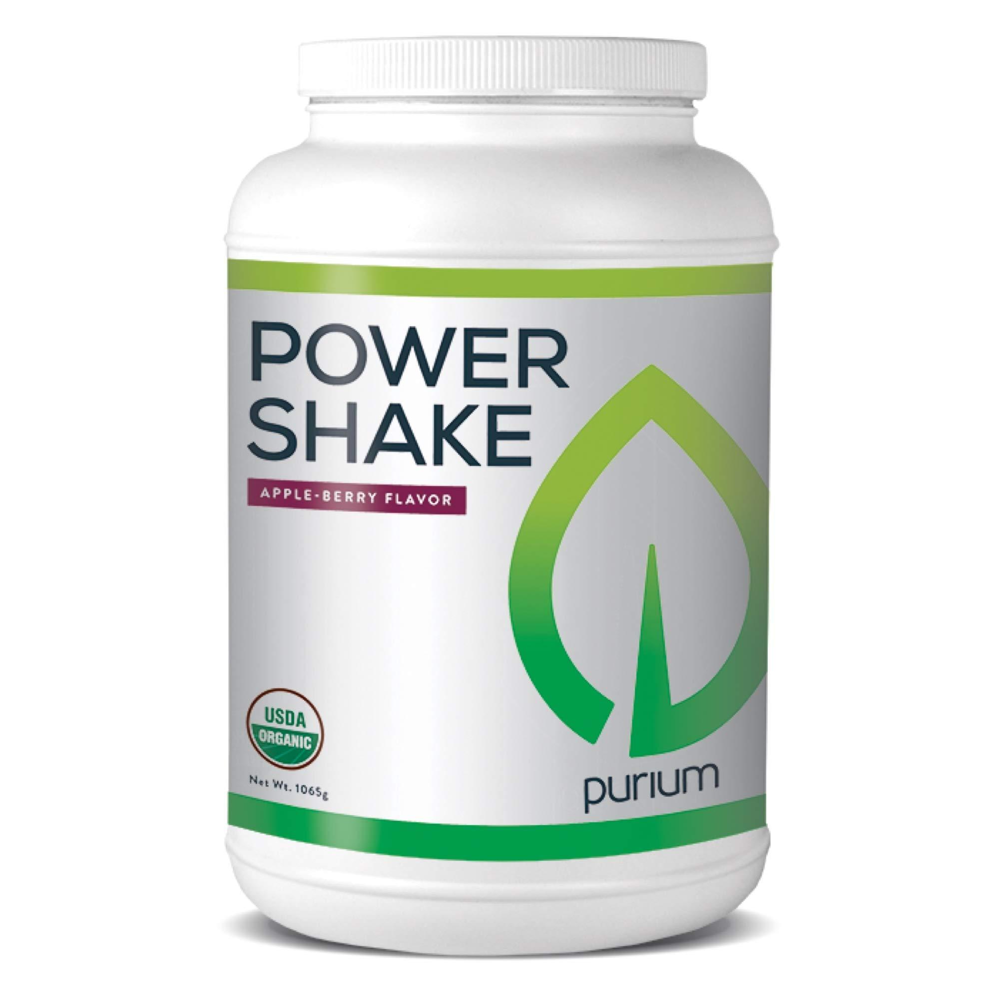 Purium Power Shake - Apple Berry Flavor - 1065 grams - Vegan Meal Replacement Powder, Protein, Vitamins & Minerals - Certified USDA Organic, Gluten Free, Kosher - 30 Servings by Purium