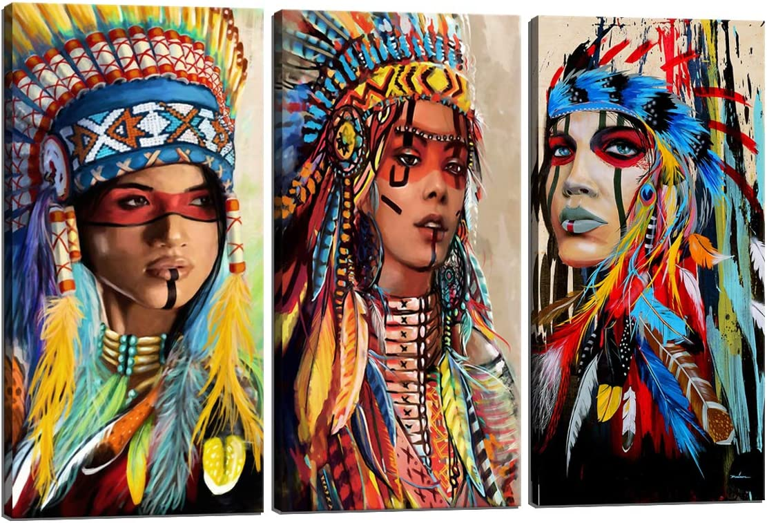 Amazon Com Large Indian Girl Chief Native American Canvas Wall Art Feathered Women Prints Gifts Home Decor Decals For Bedroom Waterproof Posters Pictures Paintings Framed Ready To Hang 24 H X 36 W Posters
