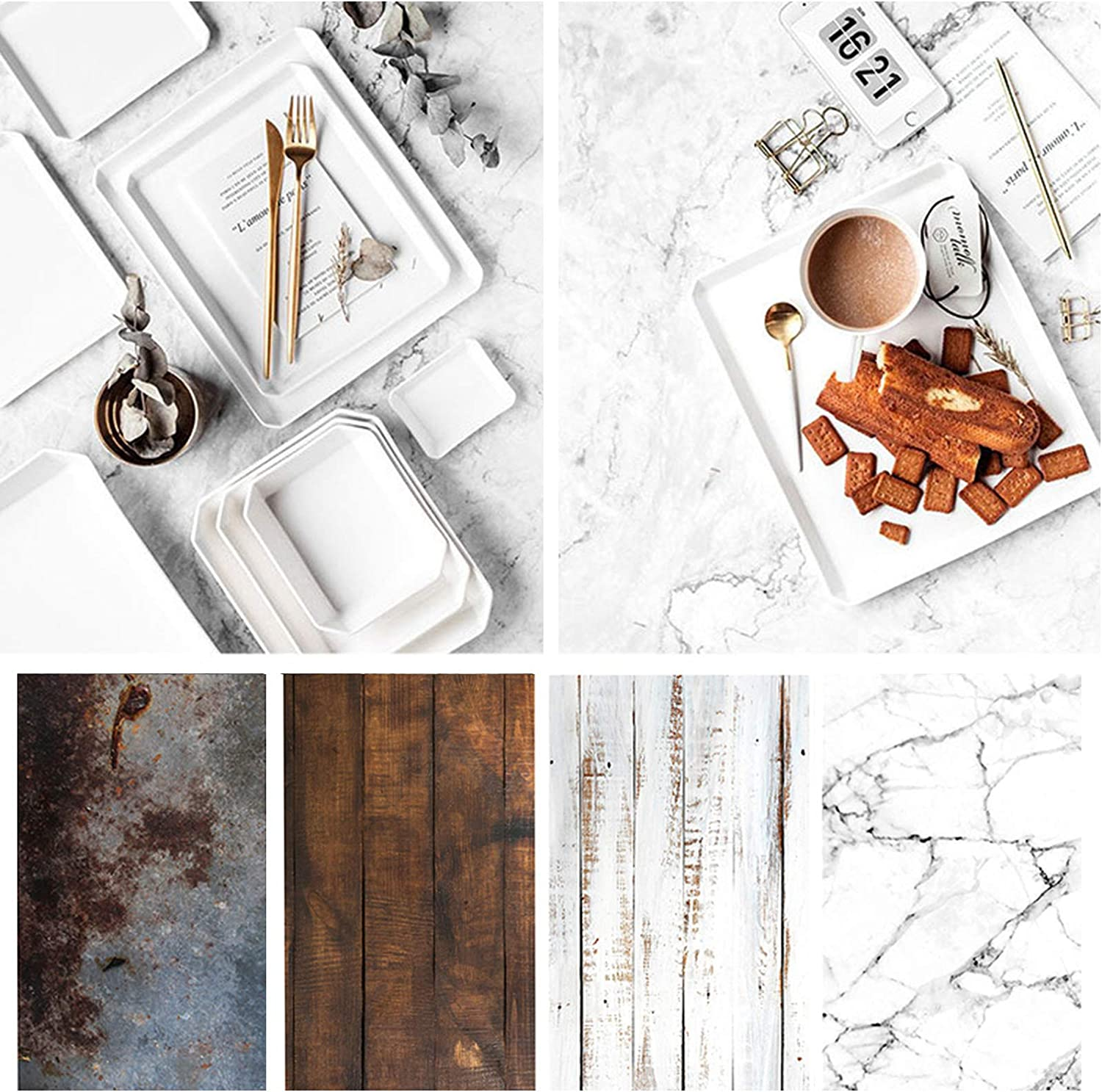 Bcolor Marble Wood Backdrop Photography Paper 4 Pack Kit 22x34Inch/ 56x86cm Flat Lay Double Sided Rustic Photo Background Rolls for Food Product Jewelry Tabletop Props Pictures, 8 Pattern