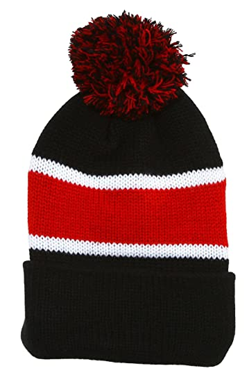 TOP HEADWEAR Winter Striped Beanie with Pom - Black Red at Amazon Men s  Clothing store  28875c649b7