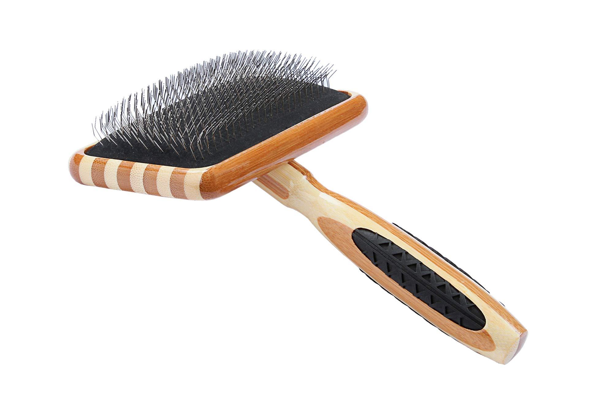 Bass Brushes | De-Matting Pet Brush Alloy Pin | Pure Bamboo Handle | Slicker Style | Stripped Finish | Model A19-SB