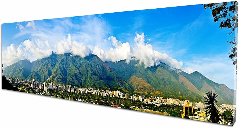 Foto Canvas Cuadro El Ávila Caracas Venezuela | Fotografía Panorámica Impresa en Lienzo | Cuadros Mini Panorámicos Listos para Colgar | Decoración Tamaño 60 x 15 cm