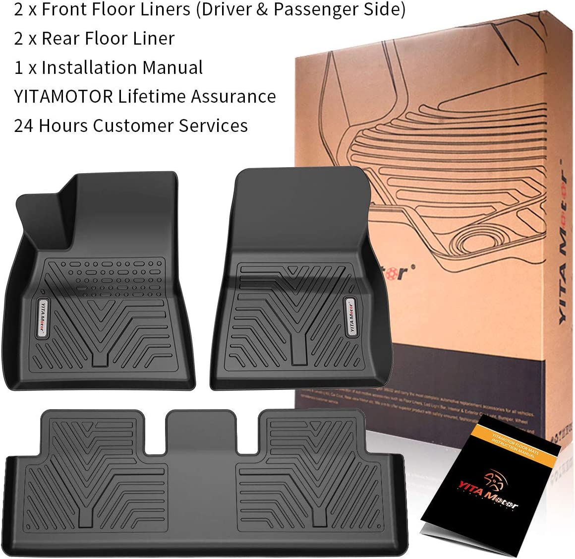 YITAMOTOR Floor Mats Compatible with Tesla Model 3 Custom Fit Floor Liners for 2017-2019 Tesla Model 3 1st /& 2nd Row All Weather Protection