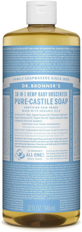 Dr. Bronner's Pure Castile Liquid Soap - Baby Unscented 32oz.