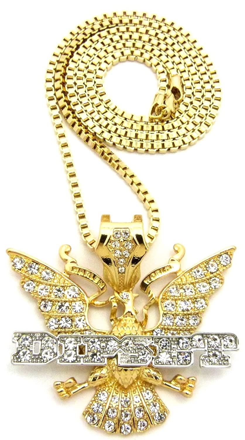GWOOD Diplomats Dipset Iced Out 30 Inch Long Box Chain Pendant Necklace