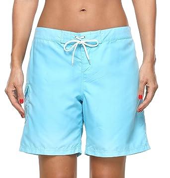 de3bed35e4 ATTRACO Womens Swimsuit Board Shorts Drawstring Quick Dry Swim Shorts Blue M