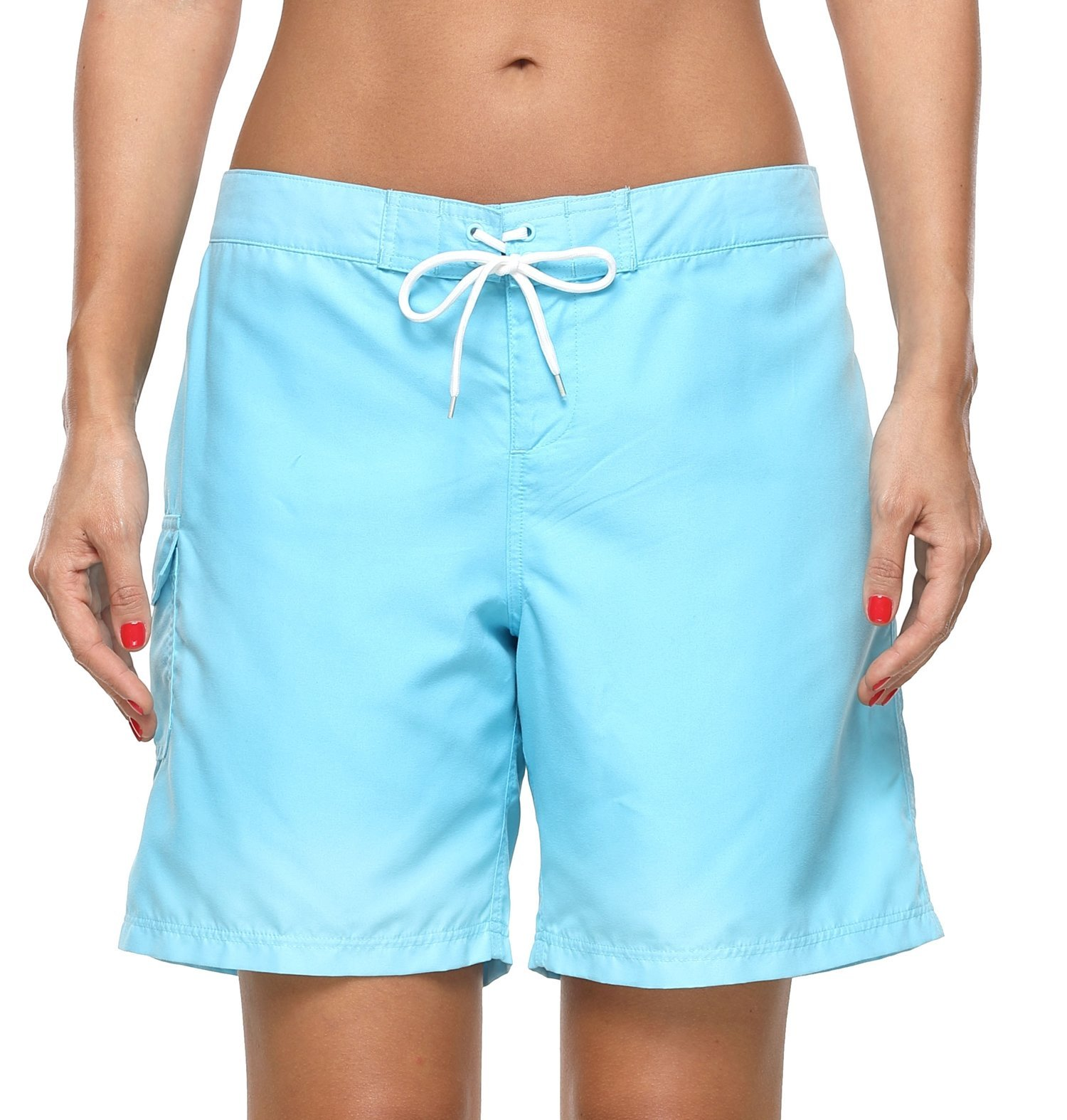 ATTRACO Women's Long Board Short Side Pocket Drawstring Swimwear Shorts Blue Large