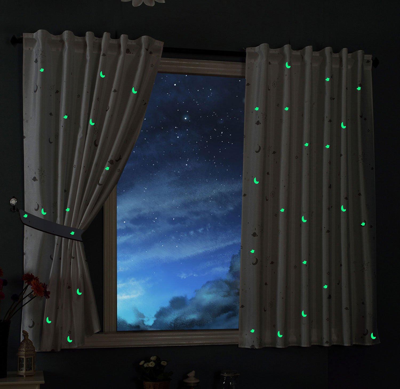 Vorhang Schal blickdicht Motiv Sterne Monde fluoreszierend ...