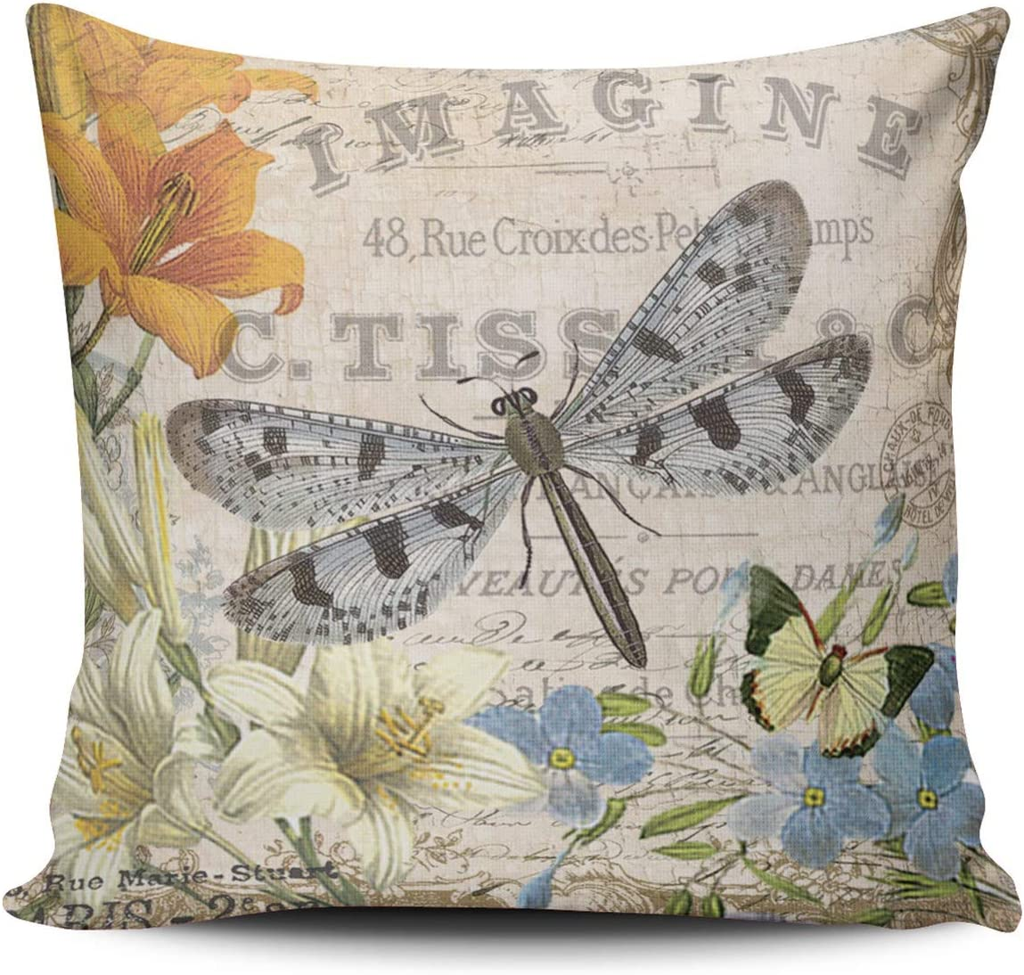 WEINIYA Home Decoration Throw Pillow Case Coloured 18X18 Inch Modern Vintage French Dragonfly Square Custom Pillowcase Cushion Cover Double Sided Printed (Set of 1)