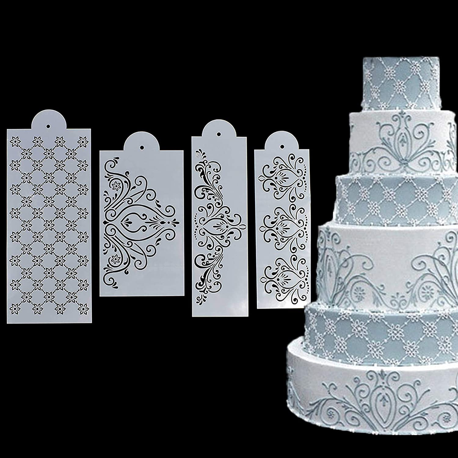 RONRONS 4 Pieces Cake Decorating Template Kit Food Grade Spray Flowers Stencil Plastic Powdered Sugar Sieve Mould Set Wedding Cake Decorative Lace Flower Edge Molding Baking Stencils Molds Tools