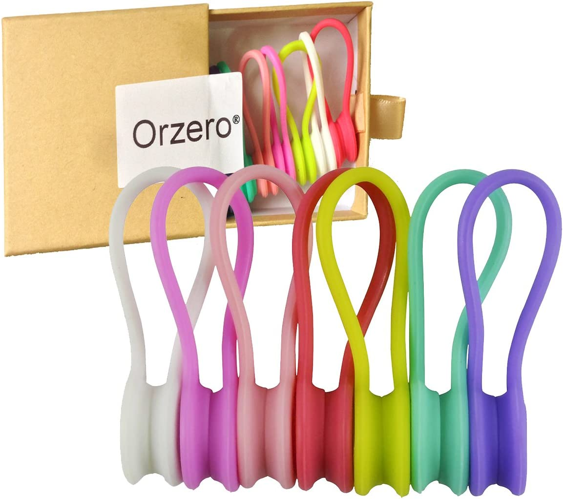 Orzero (7 Pack) 7 Candy Colors Magnetic Cable Winder Wrap Cord Organizer Soft Silicone for Earphone Cell Phone Pad USB Data Cable Use as Bookmarks Keychain