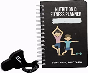 ESAN Fitness Journal for Women & Men - Nutrition Daily Planner, Workout Tracker, Weight Loss Log for 12 Weeks, Hardbound Home Notebook with Body Tape Measure