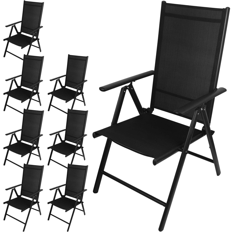 8 Stück Aluminium Hochlehner Positionsstuhl Gartenstuhl Klappstuhl Campingstuhl mit 2x2 Textilenbespannung, Lehne 7-fach verstellbar, klappbar - Schwarz