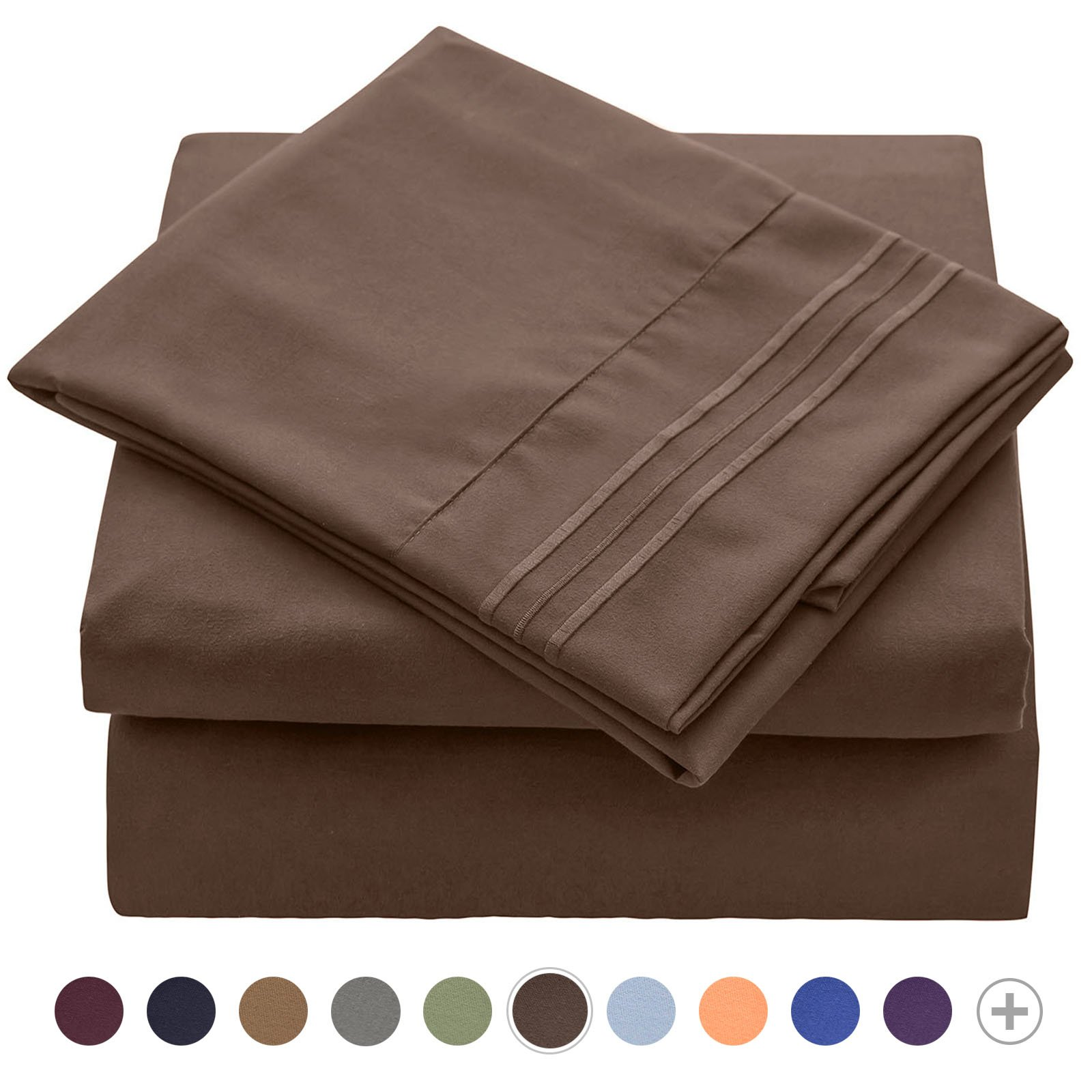 VEEYOO 1800 Thread Count Mircofiber Bed Sheet Set - Wrinkle, Stain, Fade Resistant Hypoallergenic Extra Soft Bedding Sets - Luxury Hotel Quality Deep Pocket Twin Sheets Set, 3 Pieces, Chocolate