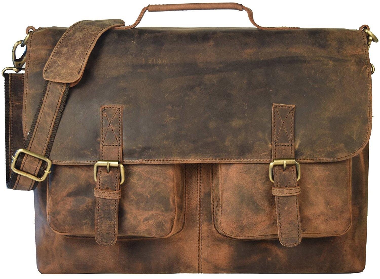 kk's 18'' Inch Retro Buffalo Hunter Leather Laptop Messenger Bag Office Briefcase College Bag leather bag for men and women