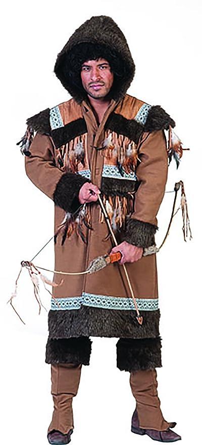 4e44b13b3a Faschingsfete Carnevale Fete ureinwohner Eschimese indiano costume per gli uomini  di pelliccia ecologica e scaldamuscoli Cappotto