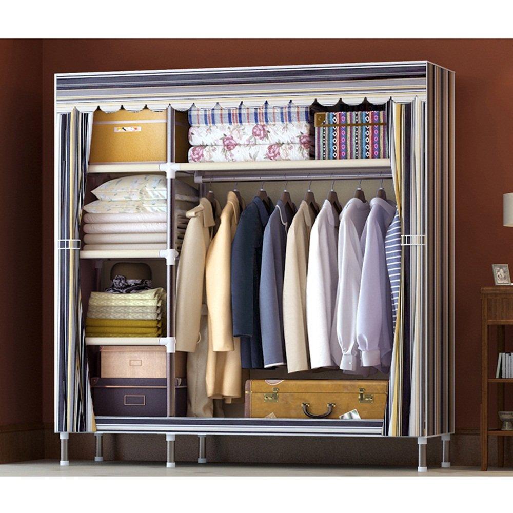 Rangement simple en tissu simple - dortoir en acier pliant en tissu armoire - tube en acier meuble de rangement