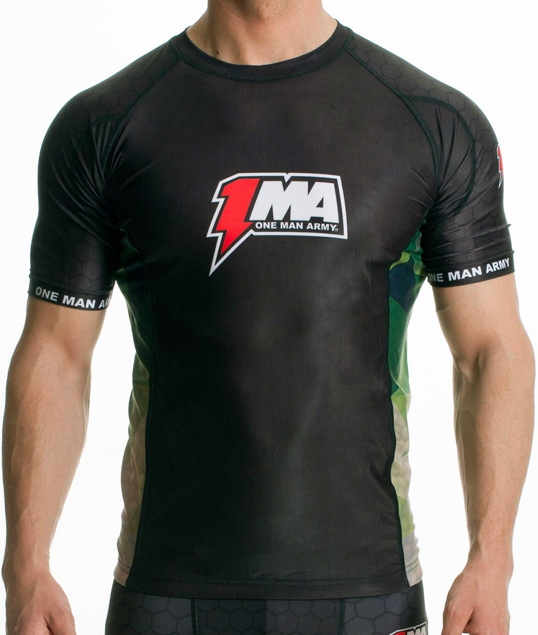 One Man Army Rashguard Short Sleeve Fitness MMA Grappling Fitness Sleeve Thaiboxen Boxen Funktionsshirt Atmungsaktiv Schwarz Camo Eng Kompression 2ad88e