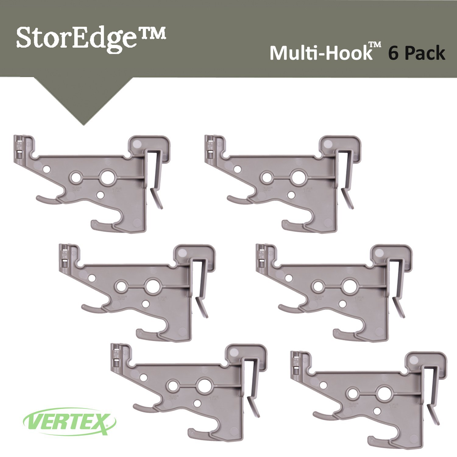 StorEdge Multi-Hook By Vertex Pack of 6 Hooks for StorEdge Super Duty Track Systems - Made In USA - Model SE806 (6 Pack) by Vertex