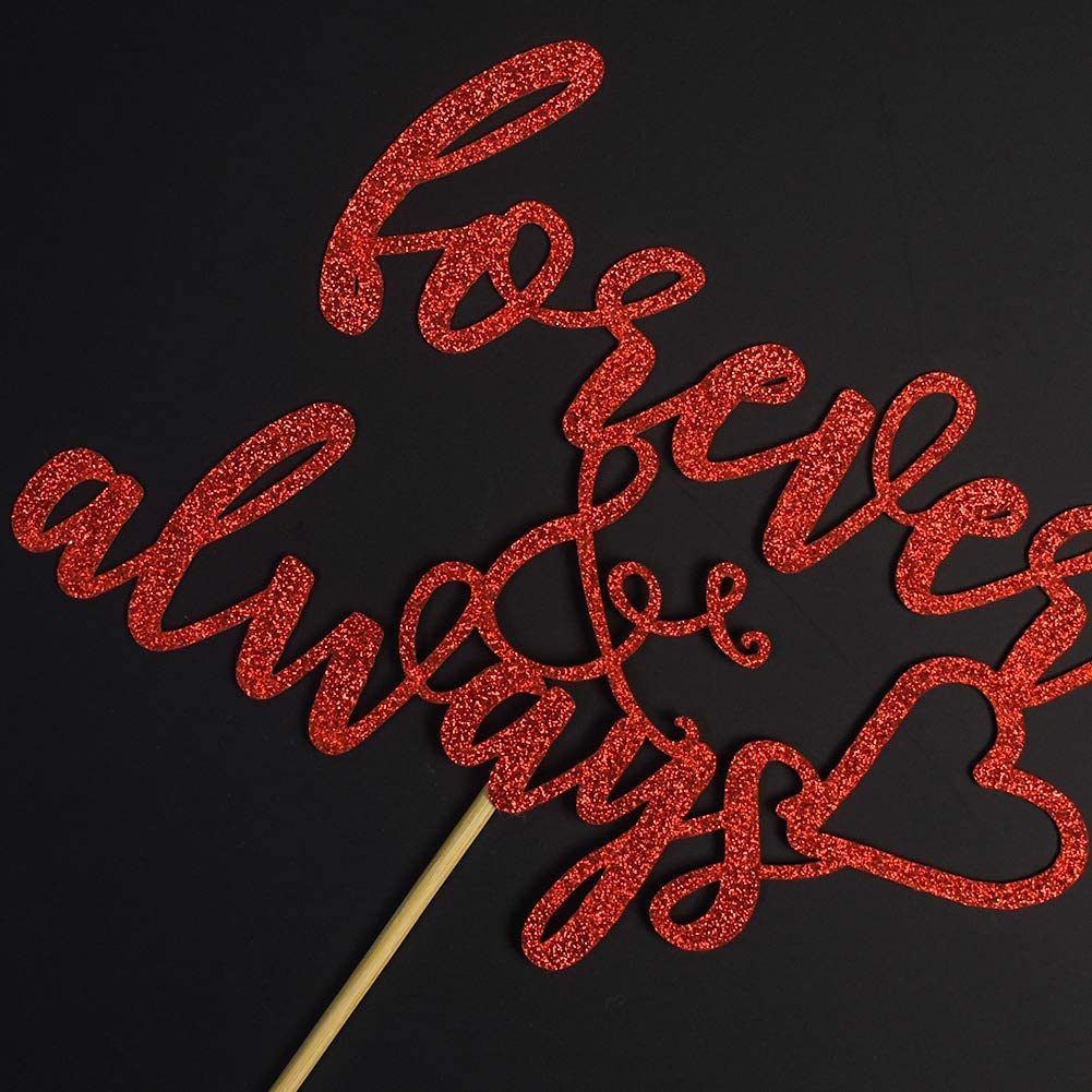 Red Glitter Wedding Engagement Bridal Shower Party Decorations Forever /& Always Cake Topper