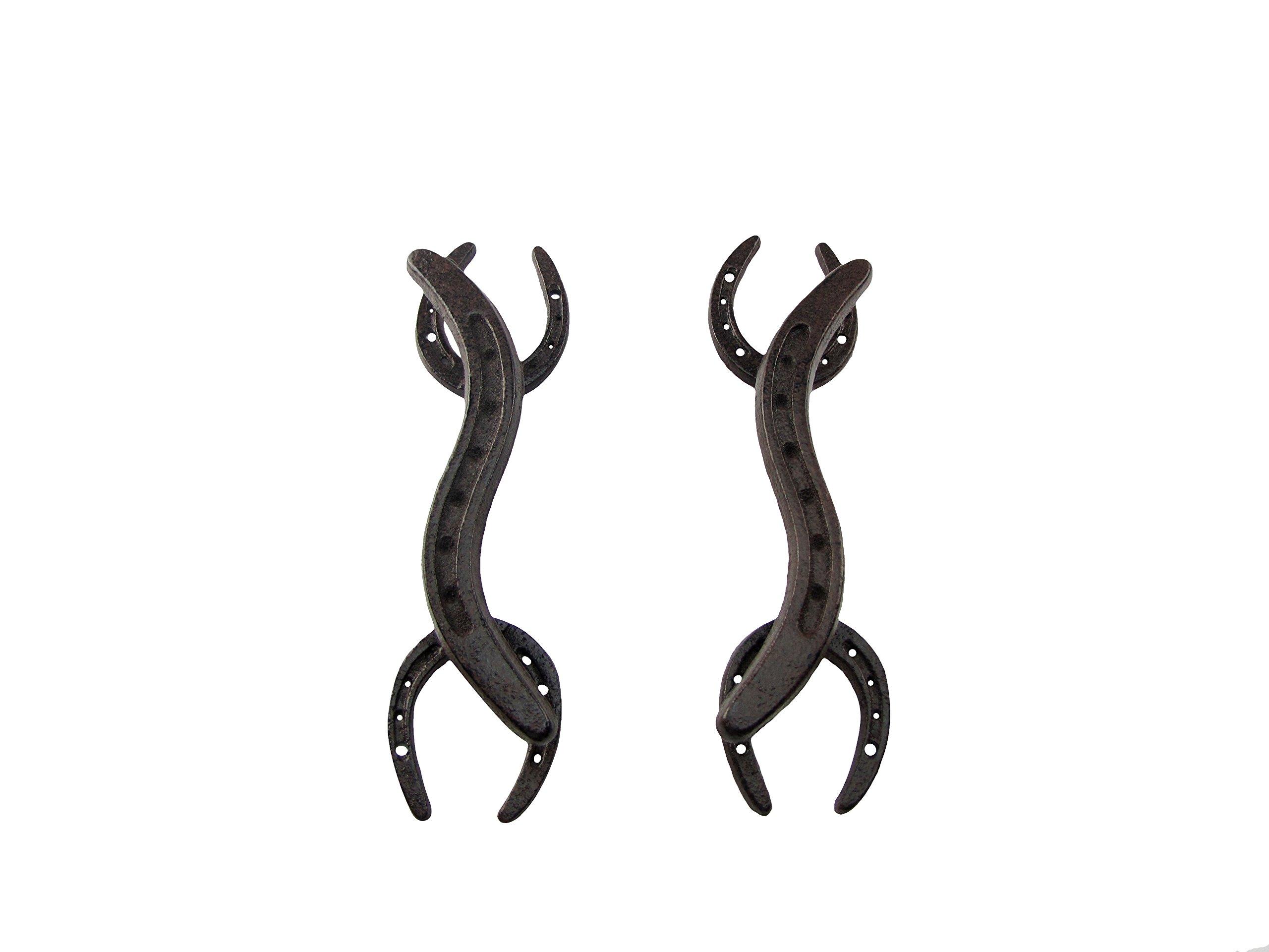 Set of 2 Metal Horseshoe Door Drawer Pull Handles Gate, Shed, or Barn Hardware