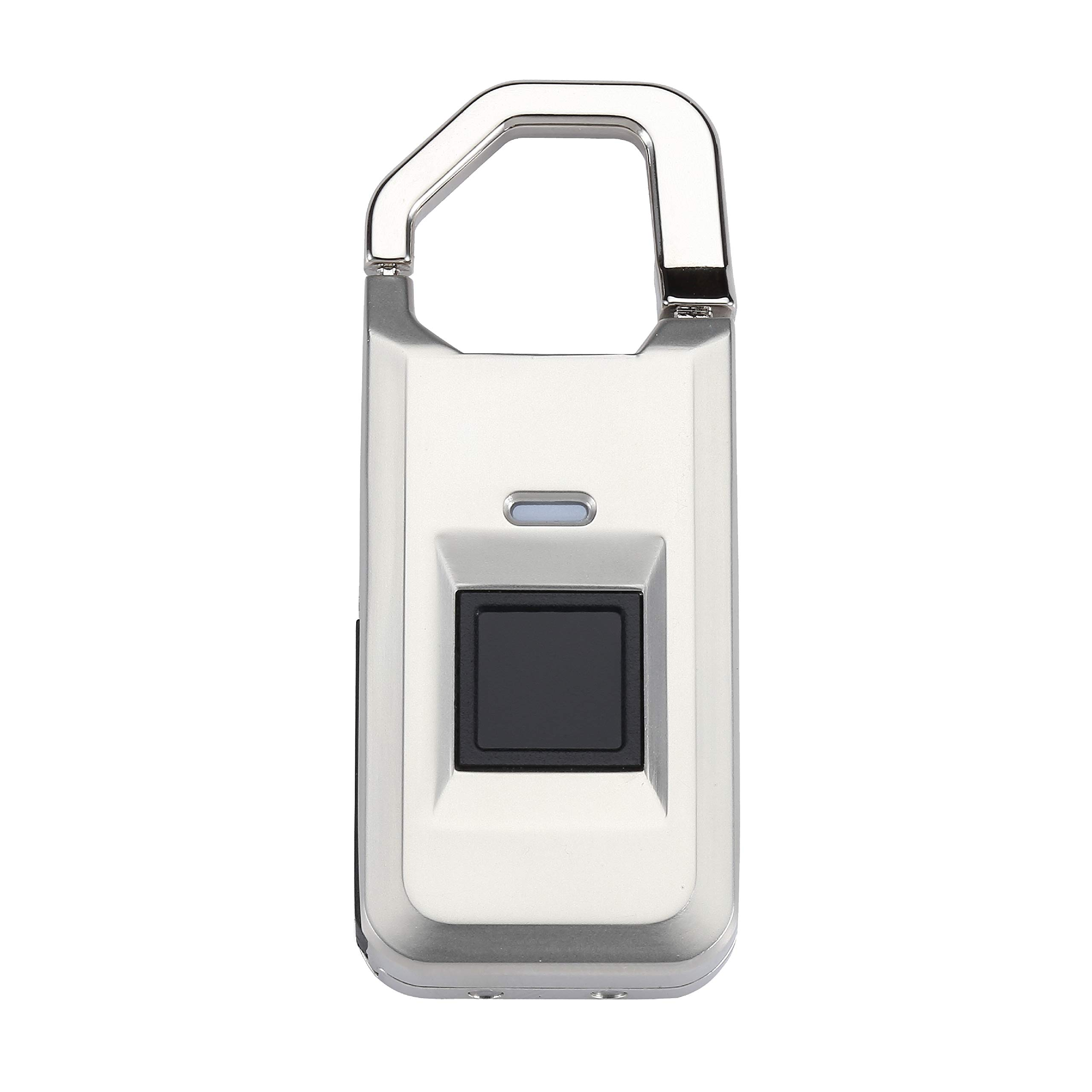Midas Touch Fingerprint Mini Padlock with iKey - Standalone One-Touch Security for Suitcases, Mailboxes, etc, Unlocks in Under 1 Second (Silver)