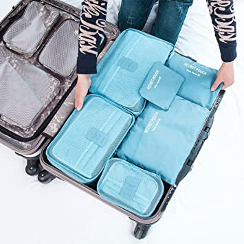 6Pcs Luggage Organizer Bag Cube Storage Clothes Underwear Socks Packing Travel
