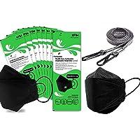 [10pcs masks + 10pcs accessories] Premium 4-Layer Black KN94 Face Mask [Adjustable Ear Loop][Anti-Trouble Skin]+ Lanyard…