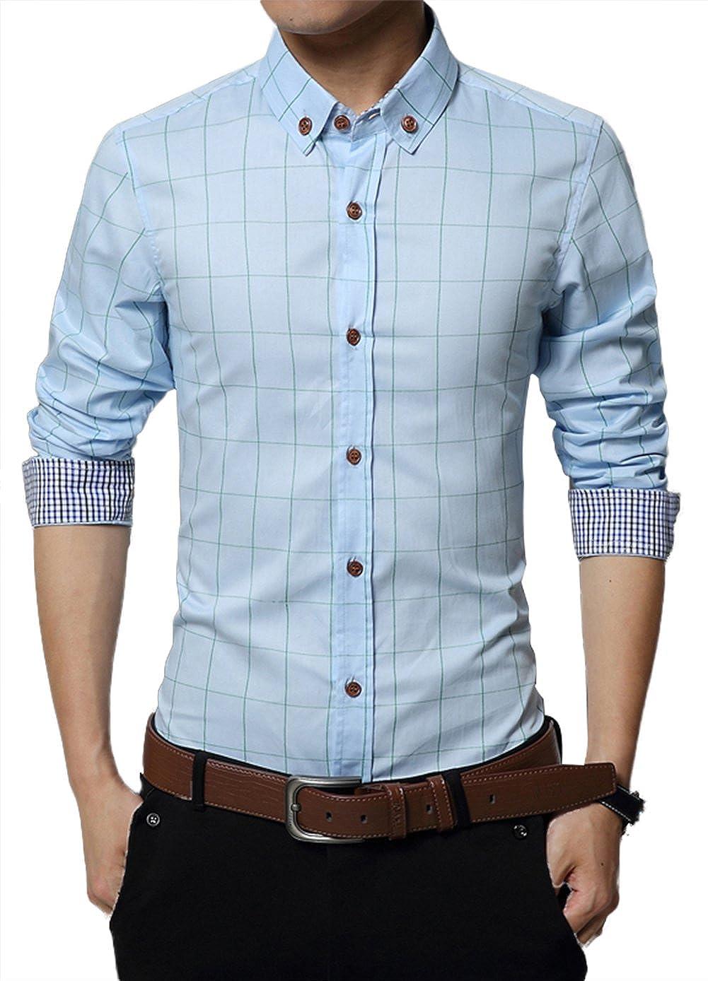 Musen Men Causal Cotton Slim Fit Plaid Button Down Long Sleeve Dress Shirt JuChao