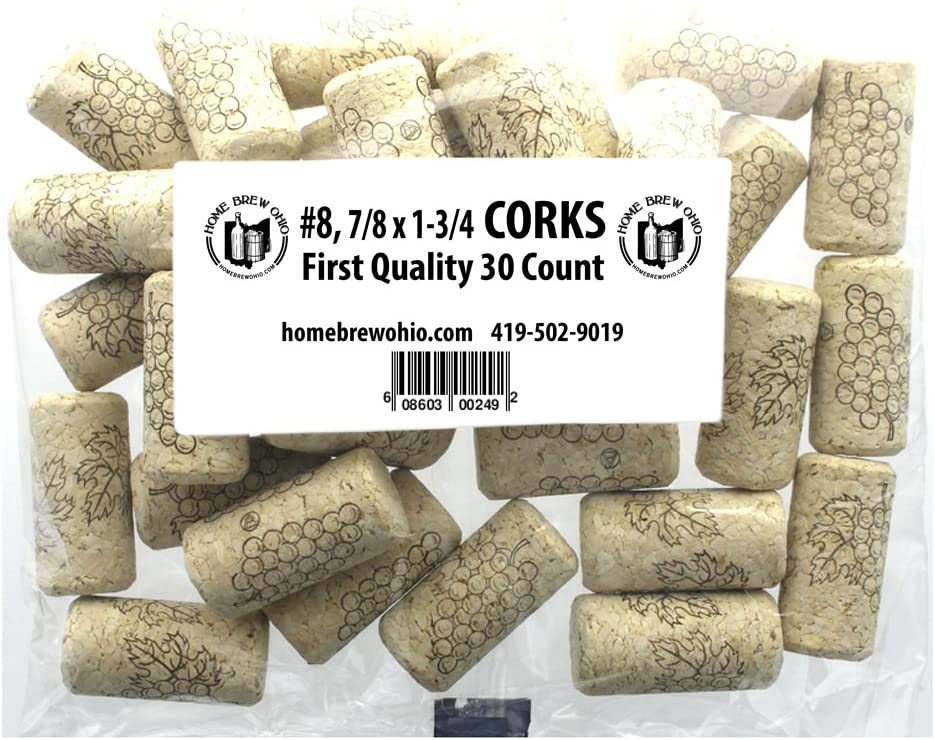 """Home Brew Ohio #8 Straight Corks, 7/8"""" x 1-3/4"""" (Pack of 30)"""