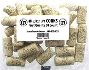 "Home Brew Ohio #8 Straight Corks, 7/8"" x 1-3/4"" (Pack of 30)"