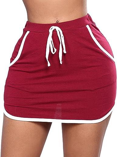 Mujeres Falda Corta con Bolsillos Slim Fit Minifalda con Cintura ...