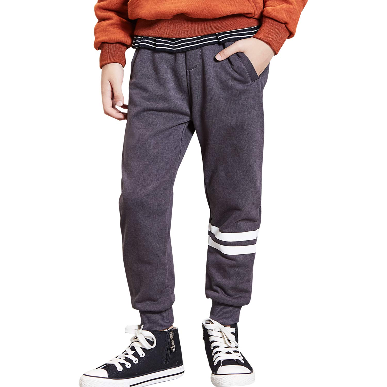 BYCR Boys' Jogger Pants Adjustable Elastic Waist Cotton Sweatpants for Kids