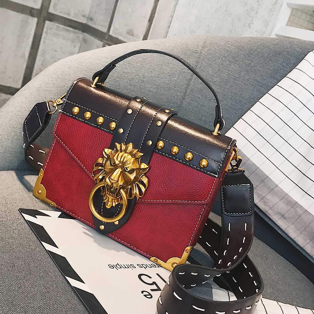 Amazon.com  Luxury Shoulder Bags Female Lion Head Lock Handbag Women PU  Leather Messenger Crossbody Bags Fashion Party Clutch  Shoes 9fc87df27e588