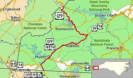 Amazon.com: Laminated Map - U S Route 129 in North Carolina ... on north carolina state map printable, north carolina school district map, north carolina highway map, north carolina virginia map, north carolina map nc, north carolina map map, north carolina interstate map, north carolina coastal plain map, official north carolina state map, milwaukee road route map, outer banks north carolina map,