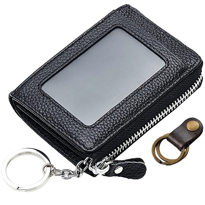 07aad272a20e kilofly Genuine Leather Card Slot ID Holder Wallet + Keychain Cable ...