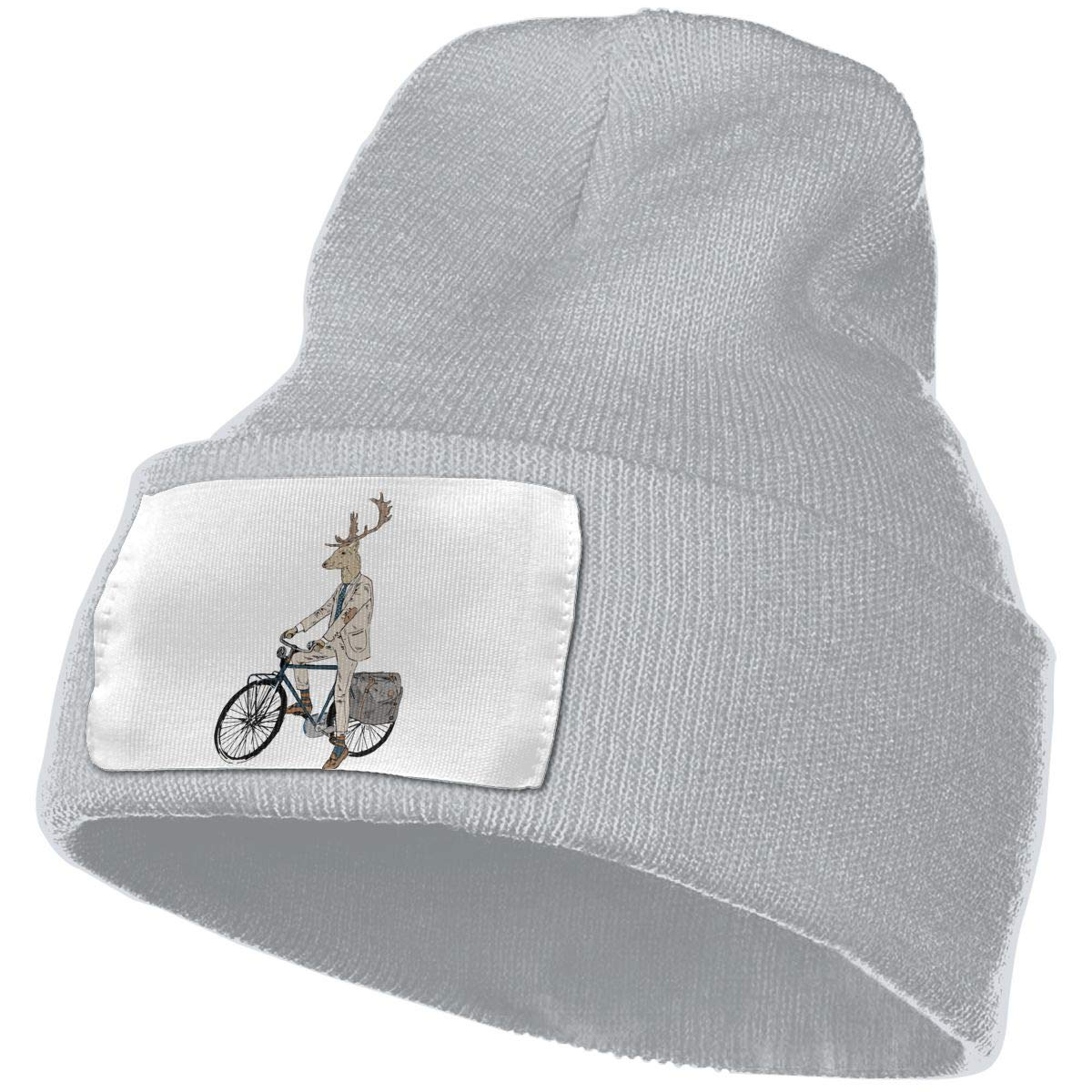 Adults Deer Riding A Bike Elastic Knitted Beanie Cap Winter Warm Skull Hats
